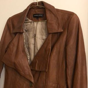 Camel brown Andrew Marc leather jacket